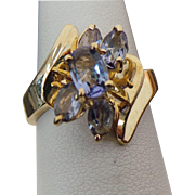 10K Yellow Gold Iolite Cluster Ring