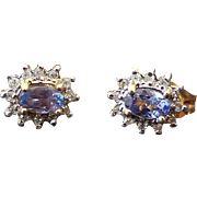 14K Yellow Gold, Pierced Post .50 Carat Tanzanite Diamond Earrings