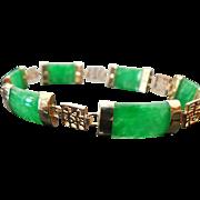 14K Yellow Gold Apple Green Jade Bracelet