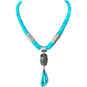 Native American Kingsman Turquoise And Sterling Silver Necklace