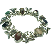 Mexico Taxco Kisses & Hugs Inlaid Gemstone Bracelet