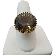 14K Yellow Gold 12.00 Carat Smoky Quartz Ring