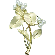 Krementz Pearl FLOWER Brooch