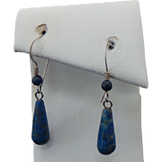 Sterling Silver Lapis Pierced Wire Dangle Earrings