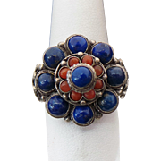 Sterling Silver Lapis And Red Jasper Princess Ring
