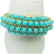 Sterling Silver/Vermeil Turquoise Beaded Ring