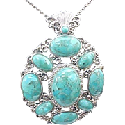 Sterling Silver Large Turquoise Pendant/Necklace
