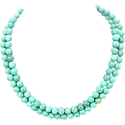 "Vintage Turquoise 8 mm Bead Necklace 36"" Long"