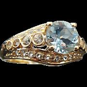 14k Yellow Gold 1.60 Aquamarine & Topaz Ring