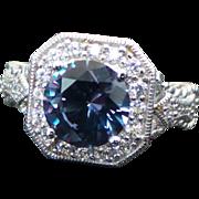 Sterling Silver Lab Created 4.00 Karat Alexandrite & Simulated Diamond Ring