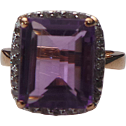 14K Rose Gold 5.60 Emerald Cut Amethyst & Diamond Ring