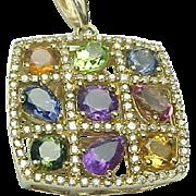 Colorful 14K Yellow Gold Large Square Multi Gemstone & Diamond Necklace
