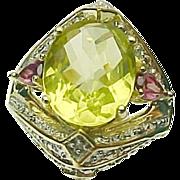 10K Yellow Gold Apple Quartz, Rhodolite Garnet & Diamond Ring
