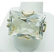 10K Yellow Gold 13.00 Carat Emerald Cut White Topaz Ring