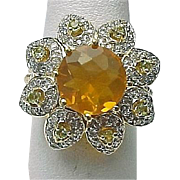 14K Yellow Gold 4.5 Carat Fire Opal, Peridot & Diamond Flower Ring ~ Circa 1995