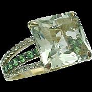 10K Yellow Gold 9 Carat Prasiolite,Tsavorite Garnet & White Sapphire Ring