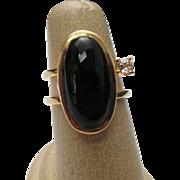 14K Yellow Gold Onyx & White Topaz Ring ~ Circa 1995