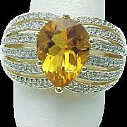 14K Yellow Gold 4.00 carat Pear Shape Citrine & White Topaz Ring