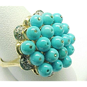 10K Yellow Gold Persian Turquoise Cluster And Diamond Ring ~ Circa 1995