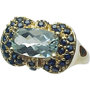 14K Yellow Gold 2.00 Carat Rectangle Aqua & Blue Sapphire Ring
