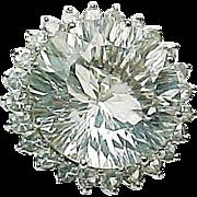 14k White Gold 20.00 Carat White Topaz Ring ~ Circa 1995