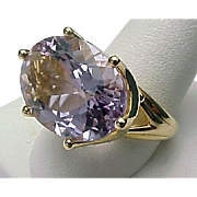 14K Yellow Gold 10.00 Carat Rose De France Amethyst Ring