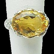 14K Yellow Gold 6.00 Carat Citrine & Topaz Ring