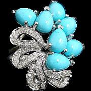 14K White Gold Elongated Persian Turquoise & Diamond Ring ~ Circa 1995