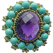 10K Yellow Gold Amethyst, Persian Turquoise & Topaz Ring ~ Circa 1995