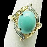14K Yellow Gold Persian Turquoise /Diamond Ring