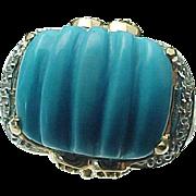 14K Yellow Gold Persian Turquoise, Peridot, Topaz & Diamond Ring ~ Circa 1995