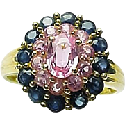 14k Yellow Gold Pink & Blue Sapphire Cocktail Ring