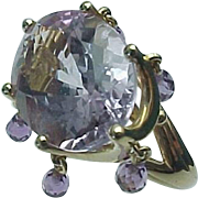 14K Yellow Gold 13.00 Carat Amethyst Dangle Ring ~ Circa 1990