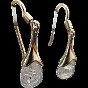 Vermeil Pierced Drop Cracked Glass Earrings