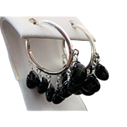 Sterling Silver Multi Dangle Onyx Pierced Hoop Earrings