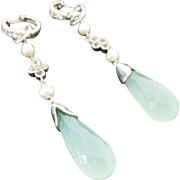 Sterling Silver LONG Dangle Pierced White Topaz, Chalcedony Earrings