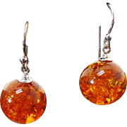 Sterling Silver Pierced Drop Amber Earrings