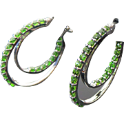 Sterling Silver Pierced Tsavorite Inside & Out Double Hoop Earrings