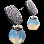 Vintage Sterling Silver Pierced Drop Moonstone/Topaz Earrings