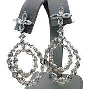 Beautiful Pierced White Topaz Door Knocker Earrings