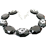 Chunky Onyx, Tahatian Pearl & Faux Diamond Necklace
