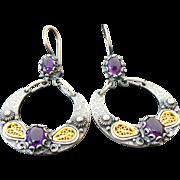 Vintage Sterling Silver /Vermeil Amethyst Pierced Dangle Earrings