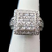 Sterling Silver Invisible Set Simulated Diamond Princess Cut Ring