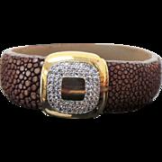 Vintage Brown Sting Ray Leather Bracelet  ~ Circa 1995