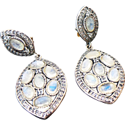 Vintage Sterling Silver Pierced Post Moonstone & Topaz Dangle Earrings