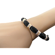 Sterling Silver & Vermeil Hinged Onyx Bangle