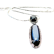Sterling Silver Blue Chalcedony & Diamond Pendant/Necklace