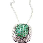 "Sterling Silver Emerald & Diamond Pendant/ Necklace ~ 20"""