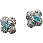 Sterling Silver 5 Piece Multi Color Changeable Flower White Sapphire Earrings