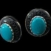 Sterling Silver Pierced Post Turquoise/Onyx Earrings
